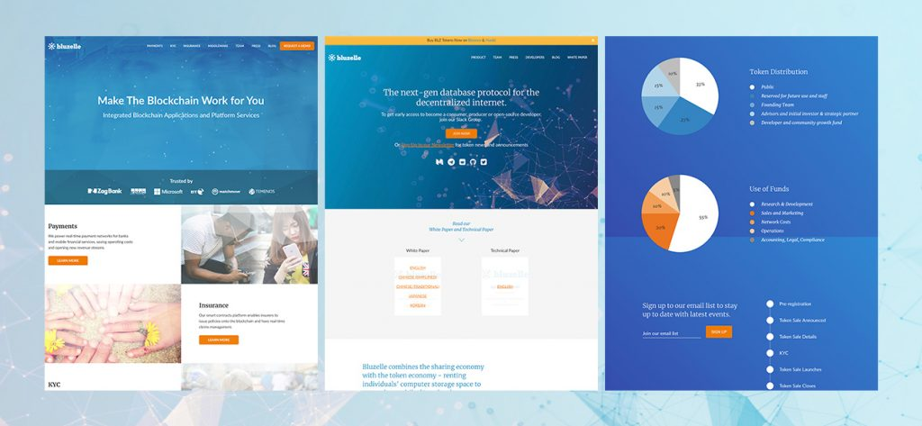 The First Iteration of the Bluzelle website
