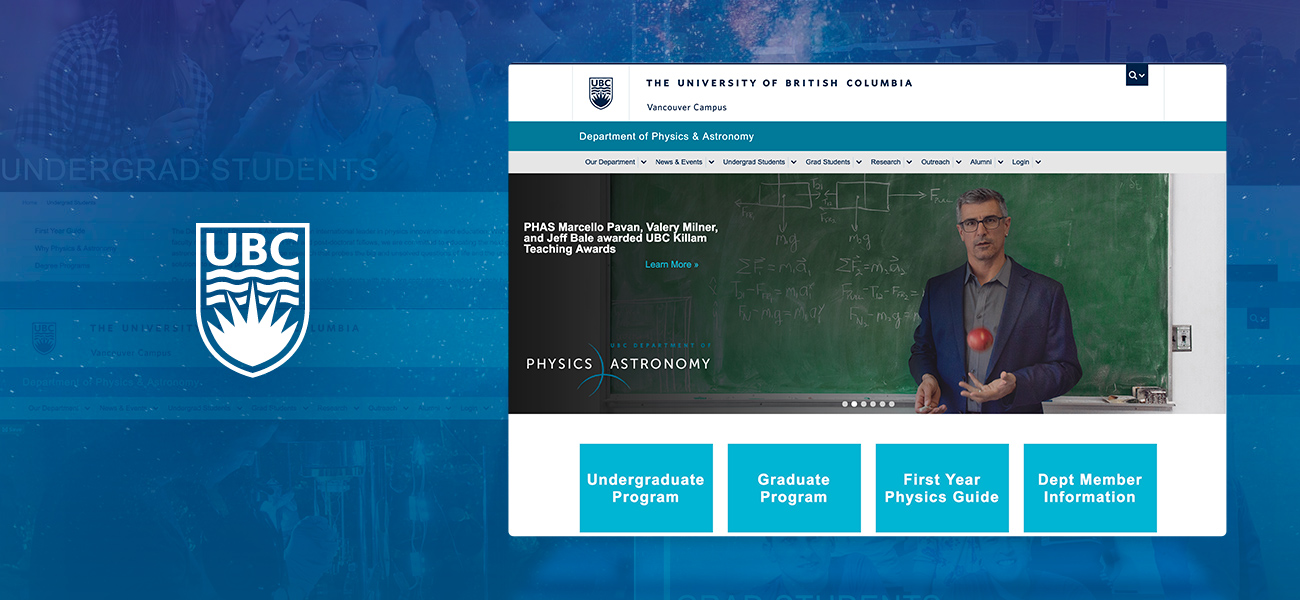 The updated homepage of UBC Phas